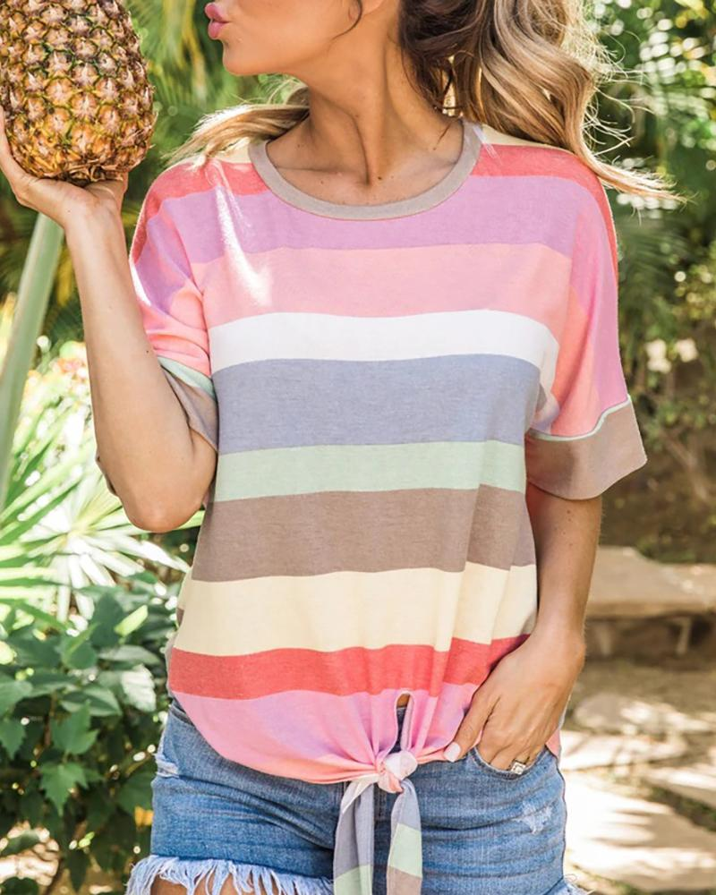 Colorful Striped Tied Detail T-shirt фото