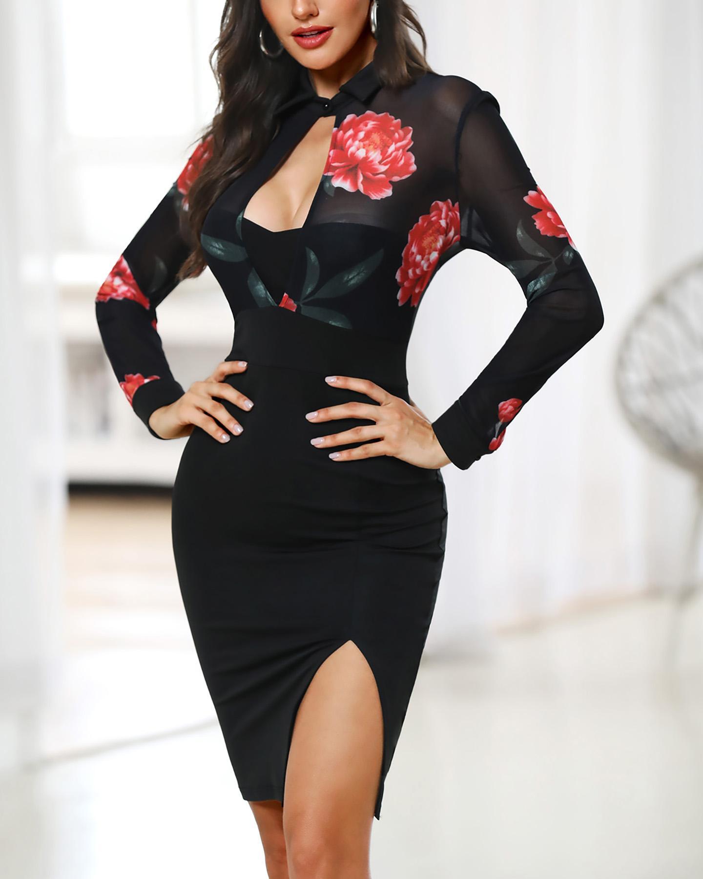 Floral Mesh Insert Cutout Slit Bodycon Dress