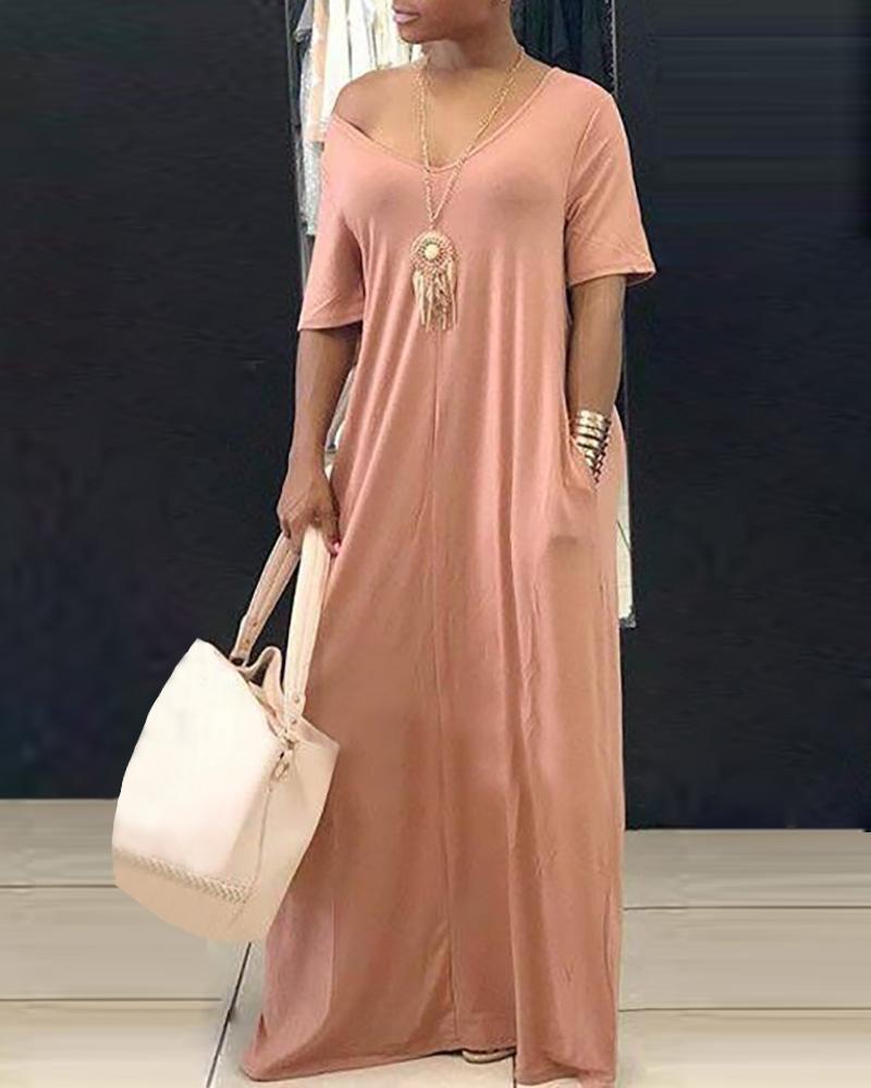 Short Sleeve V-neck Casual Dress фото