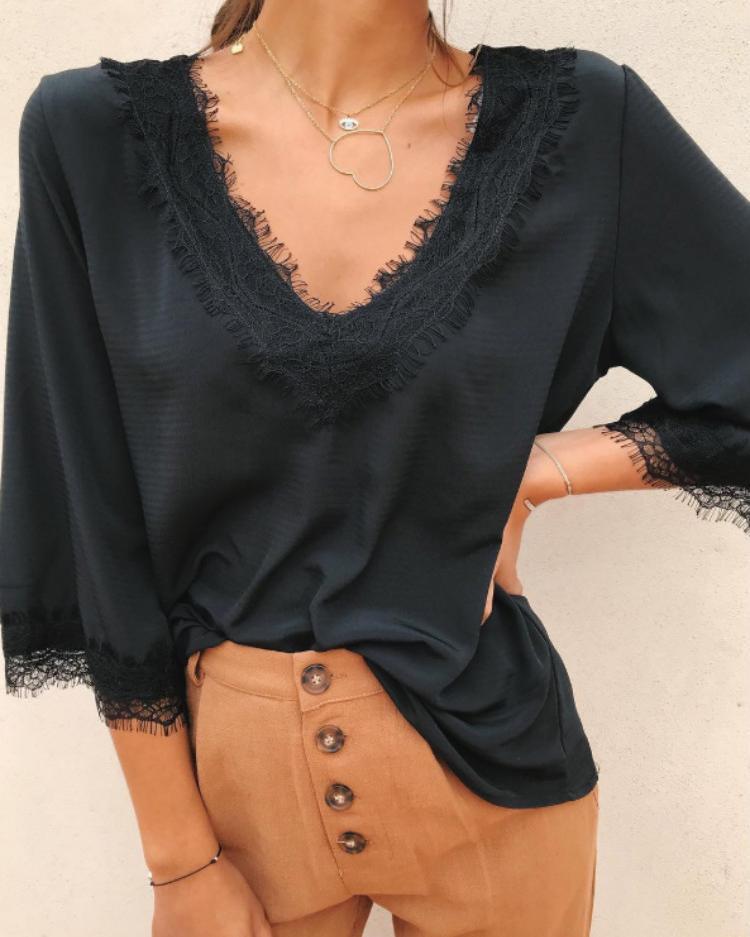 Купить со скидкой V-Neck Eyelash Lace Splicing Blouse
