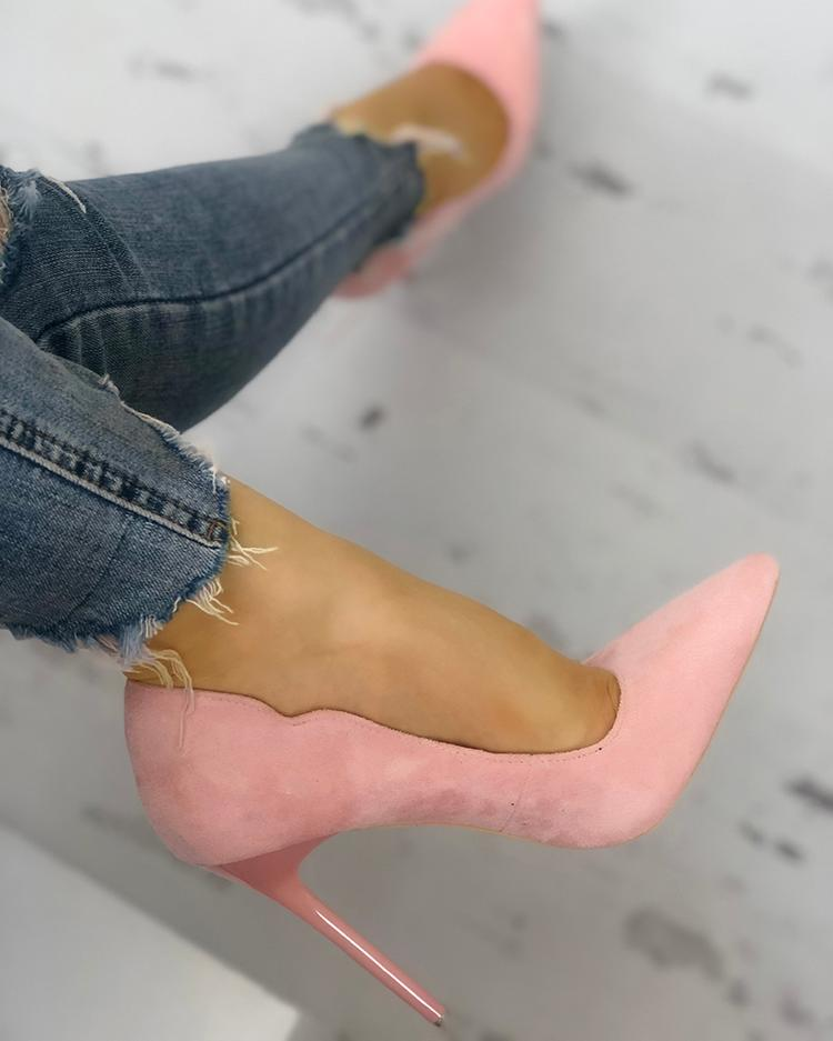 boutiquefeel / Solid Suede Pointed Toe Thin Heels
