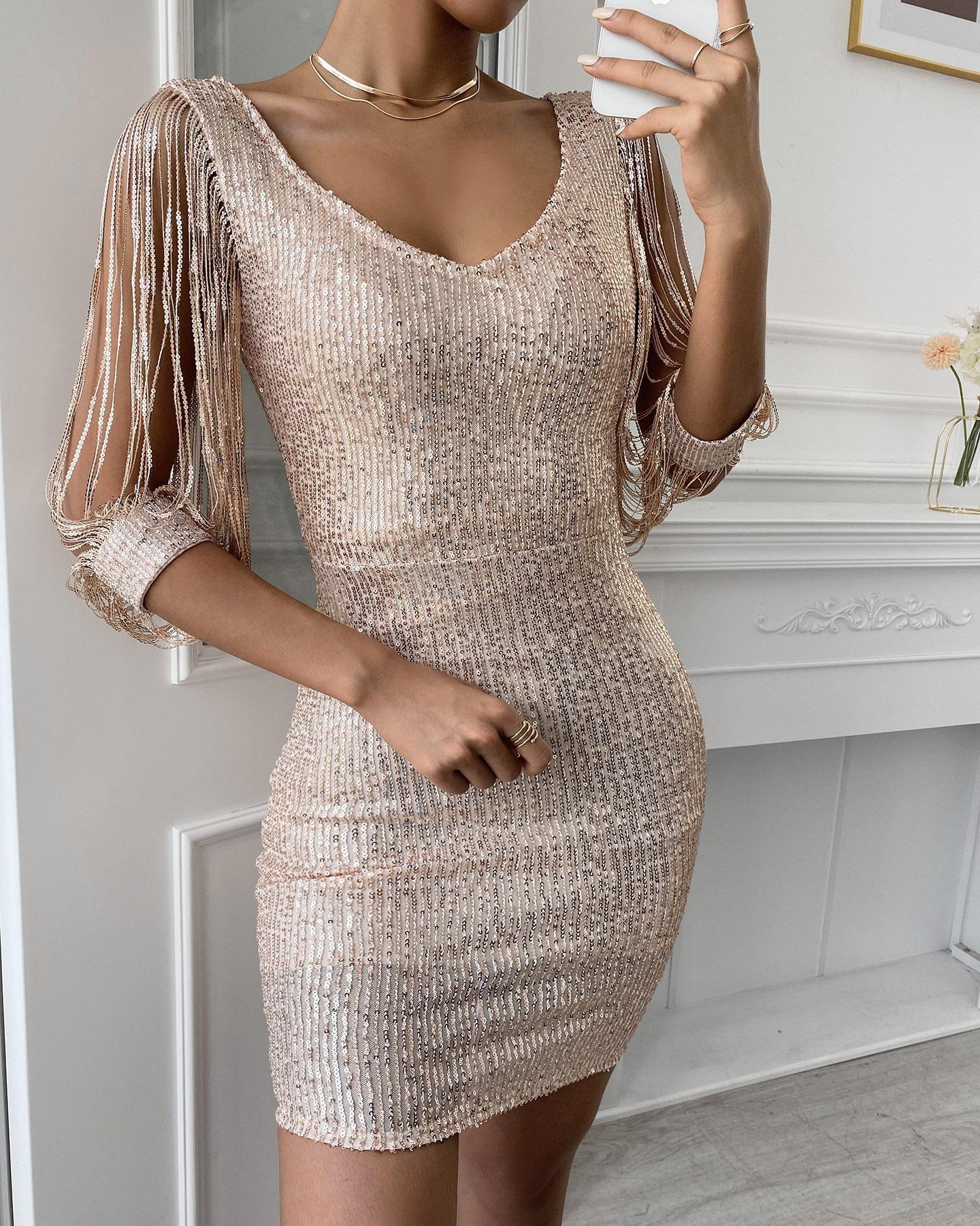 boutiquefeel / Tassels Detail Slit Sleeve Vestido de Festa em Lantejoulas
