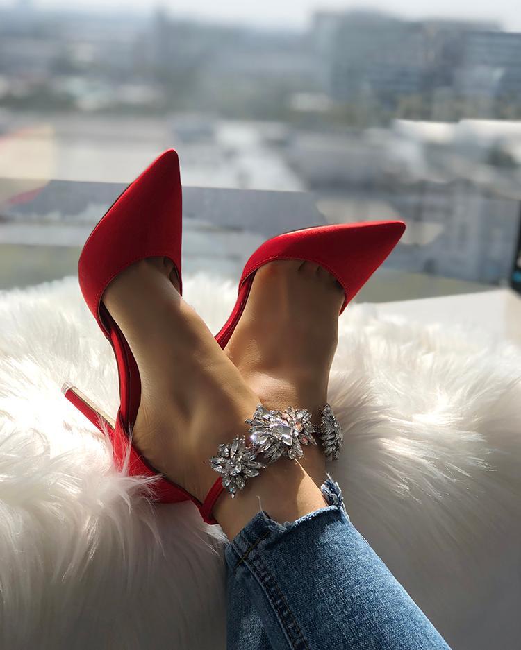 chicme / Womens cetim apontou Toe brilhante tornozelo alça de salto agulha