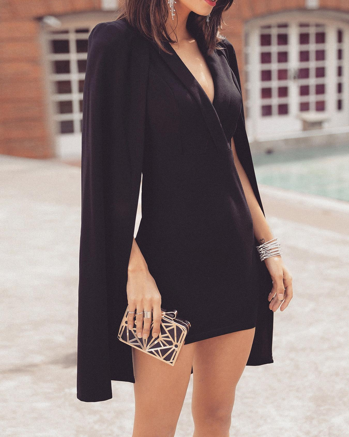 Solid Deep V Cape Design Mini Dress, Black