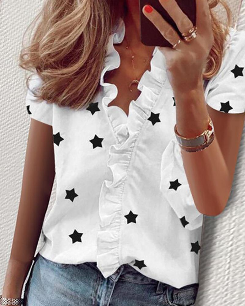 Stars Print Short Sleeve Ruffles Shirt фото