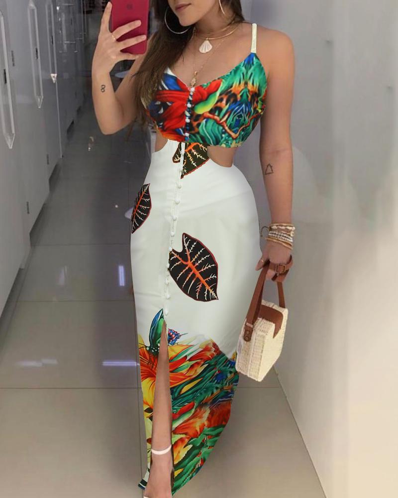 ivrose / Spaghetti Strap Print Cutout Waist Maxi Dress