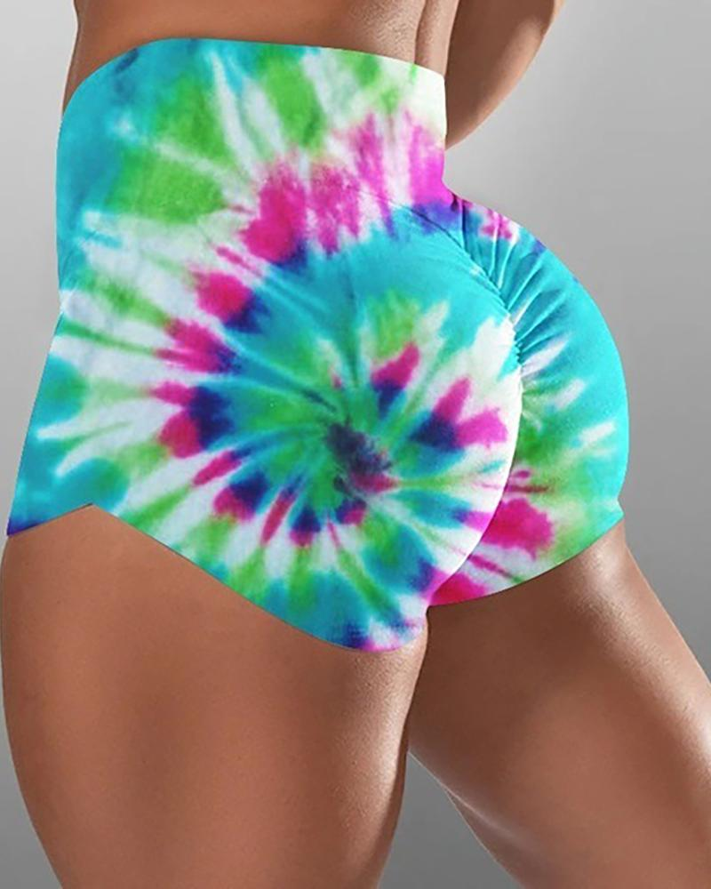High Waist Tie Dye Print Ruched Sporty Shorts фото