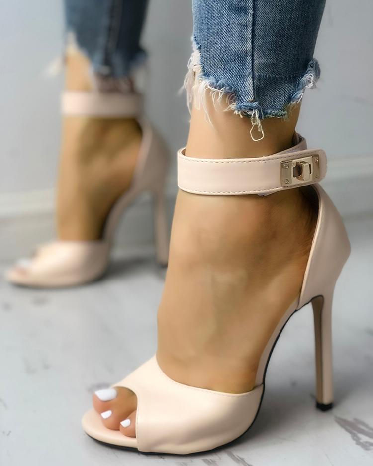 Solid Peep Toe Ankle Strap Thin Heeled Sandals