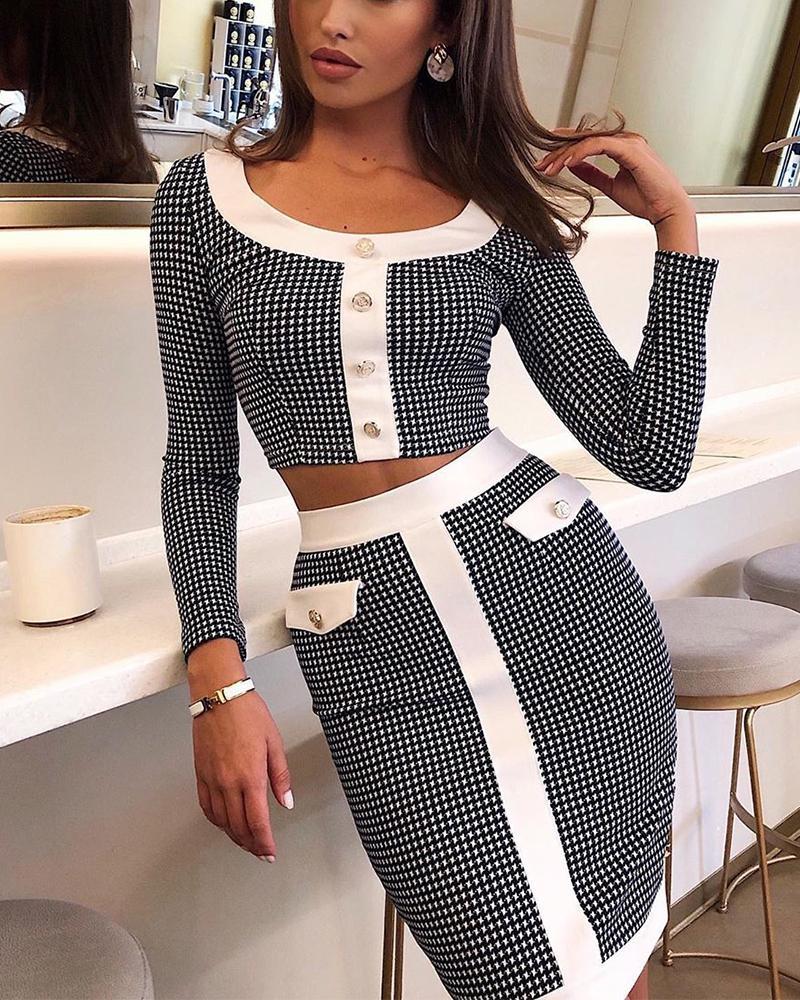 ivrose / Bodycon vestido de duas peças xadrez