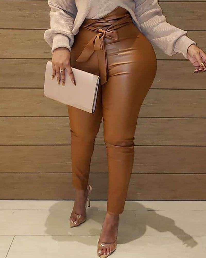joyshoetique / Faux Leather High Waist Pants