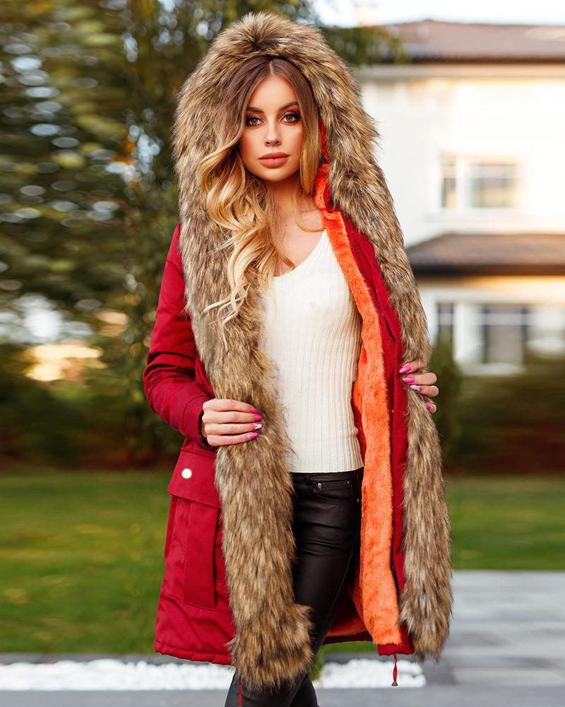 Pocket Design Drawstring Waist Faux Fur Hooded Parka Coat
