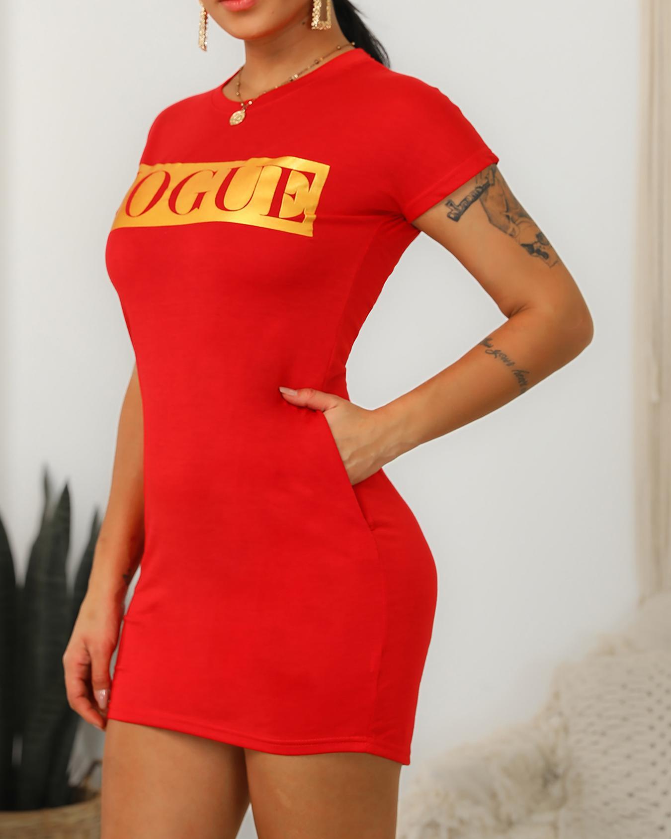 Vogue Graphic Pocket Design T-Shirt Dress фото