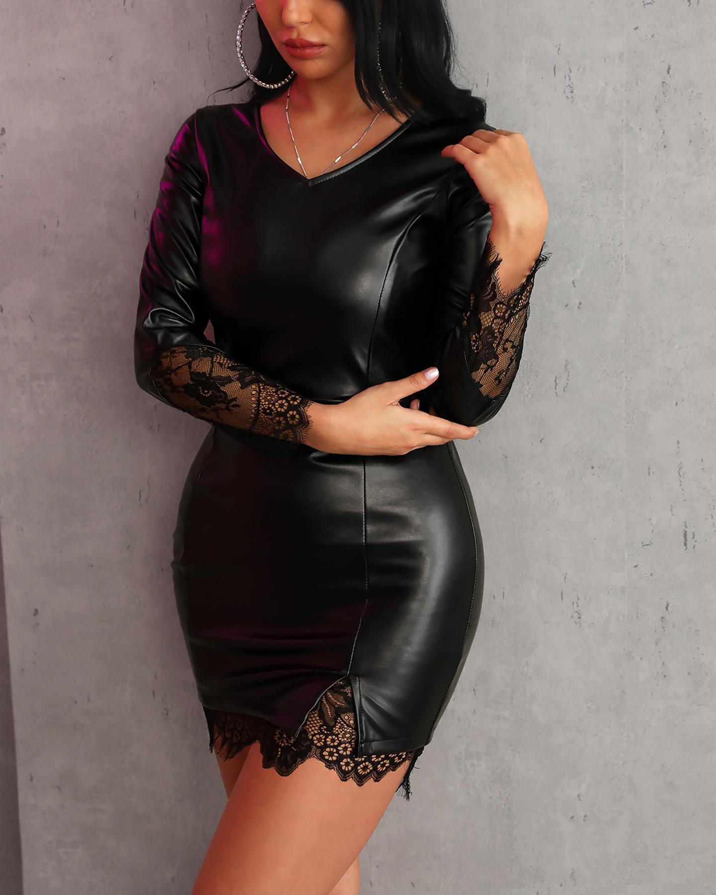 Eyelash Lace Insert PU Bodycon Dress фото