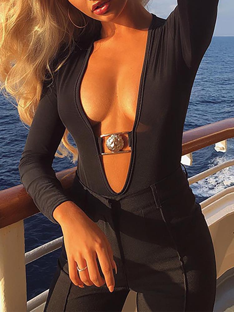 Plunge Metallic Long Sleeve Bodysuit