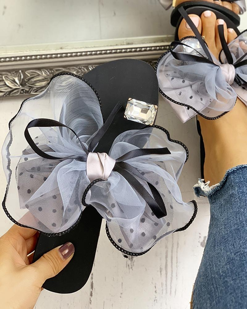 Купить со скидкой Women's Cute Bowtie Decorate Non-Slip Sandals