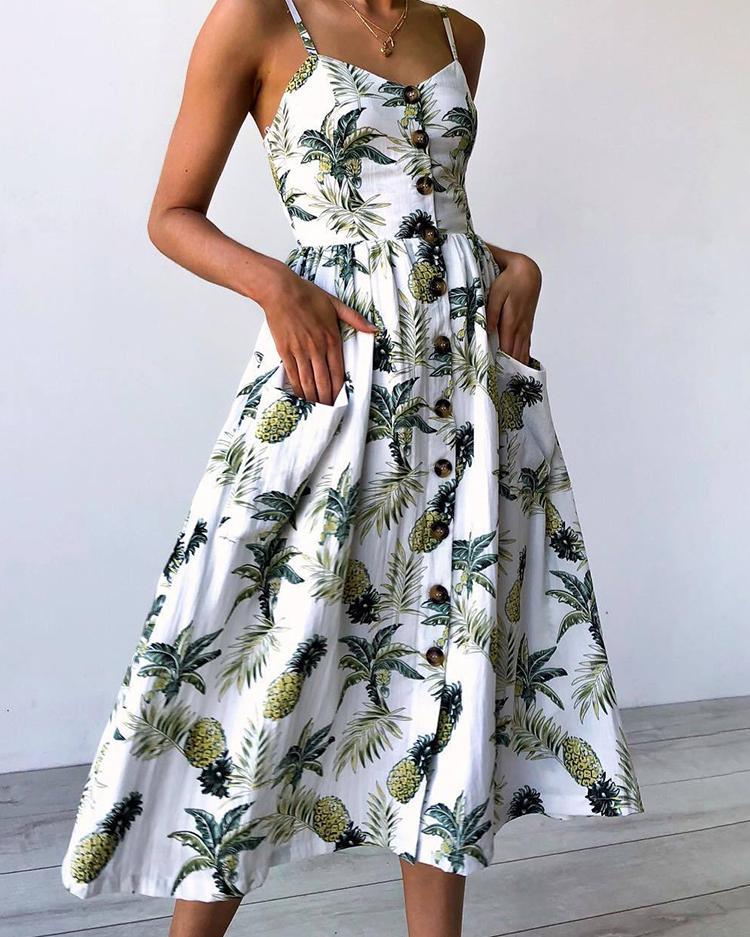 Тропический Передняя Сторона Кнопка Носить Миди Платье