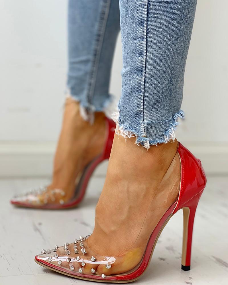 Rivet Pointed Toe Transparent Thin Heels