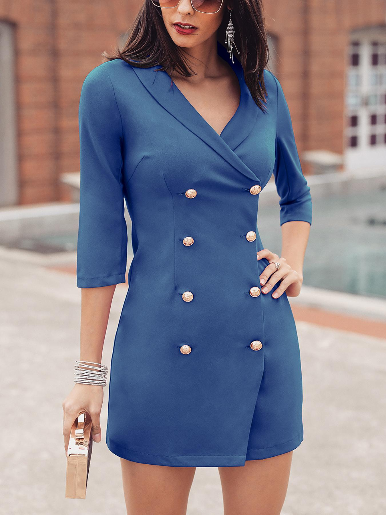 be46b03f0bfd Solid Double-Breasted OL Blazer Dress, Blue - chicme.com - imall.com