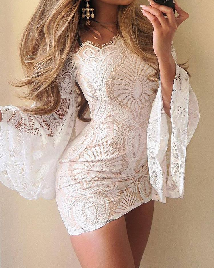 chicme / Lace Off Shoulder Flare Sleeve Bodycon Dress