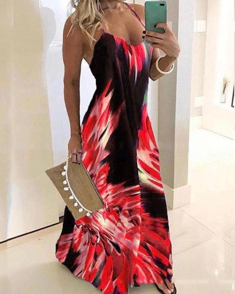 Halter Sleeveless Print Maxi Dress фото
