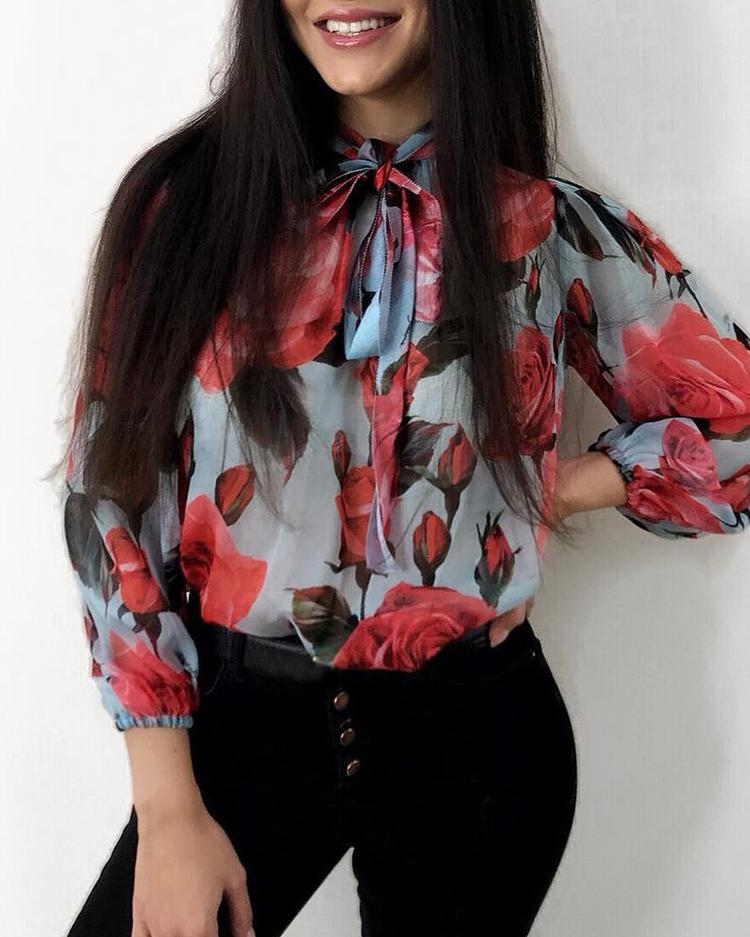 Floral Print Tied Neck Long Sleeve Blouse