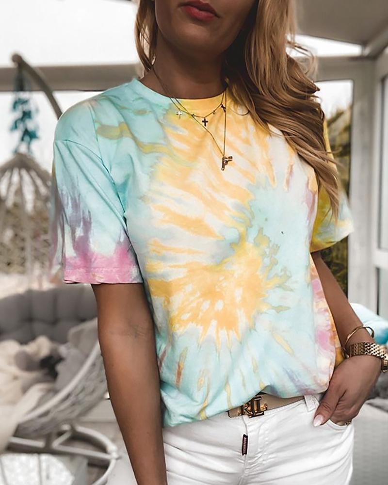 Tie Dye Print Round Neck T-shirt фото