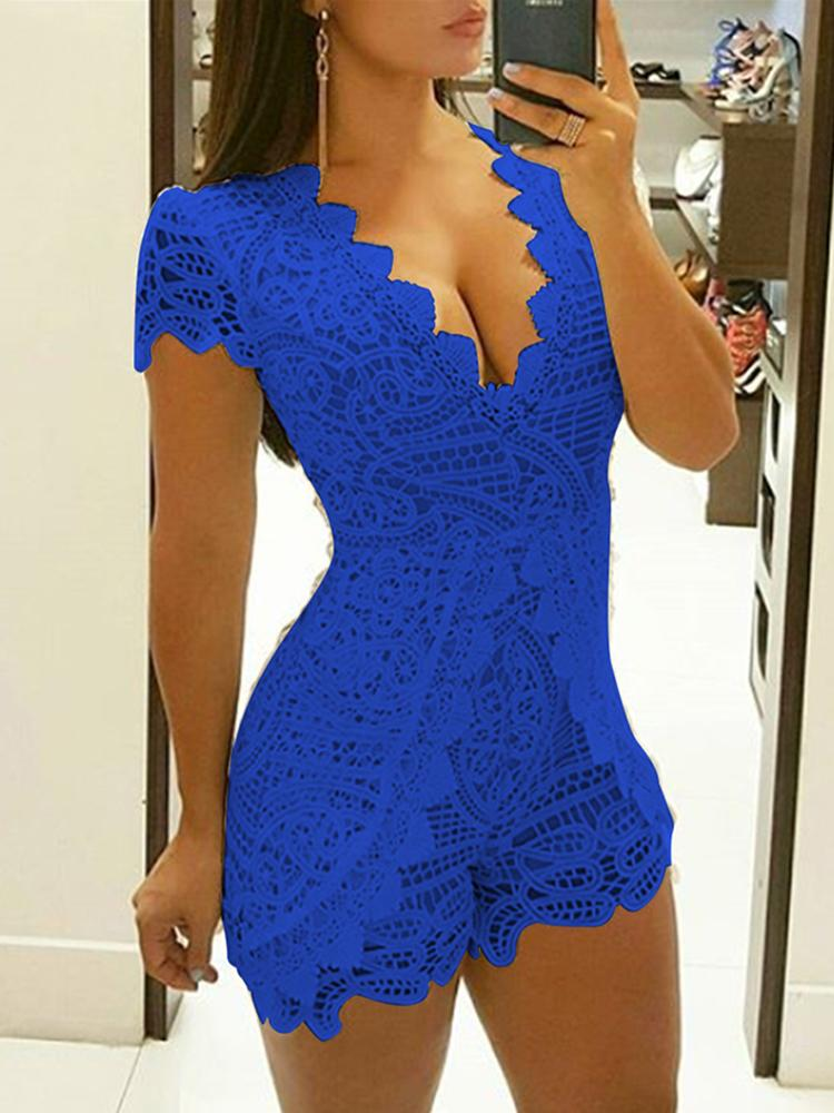 2084f8d286eb Hot Stamping Cut Out Slinky Romper · Sexy Crochet Lace Low Cut Slinky Romper