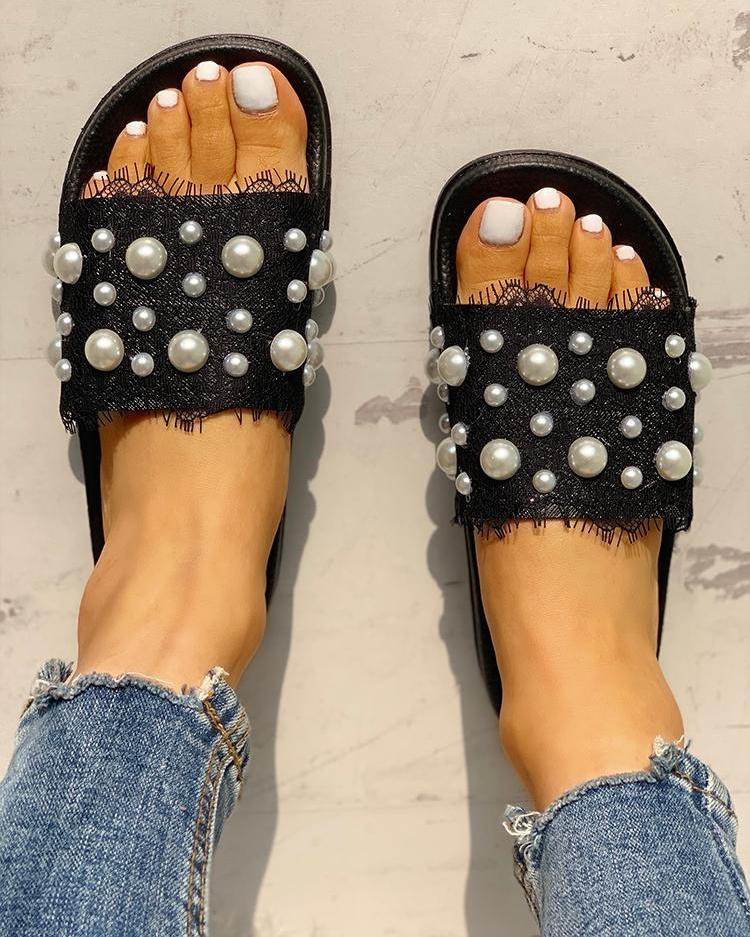 Beaded Detail Eyelash Lace Flat Sandals