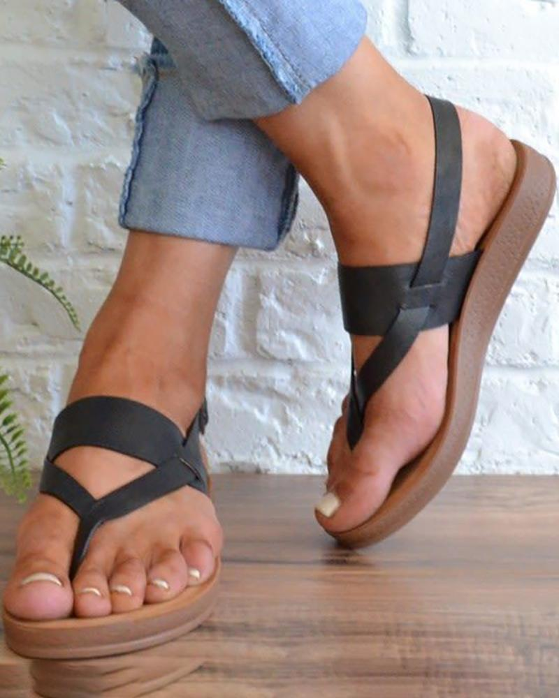 Toe Post Adjustable Buckle Flat Sandals