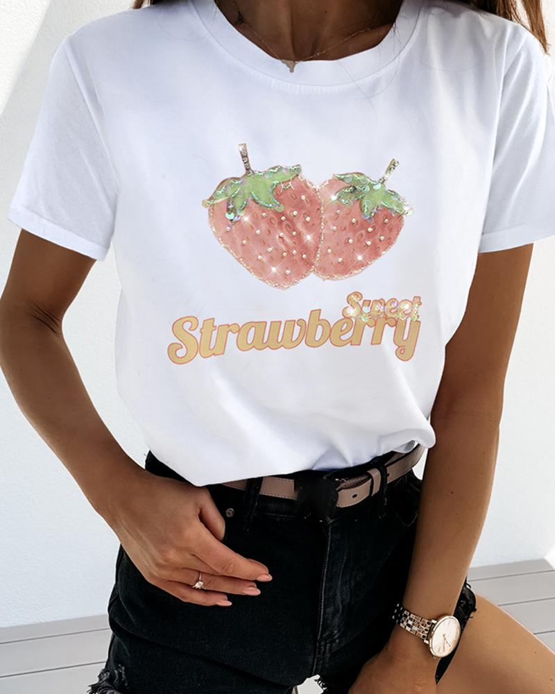 Beaded Strawberry Pattern Casual T-shirt фото