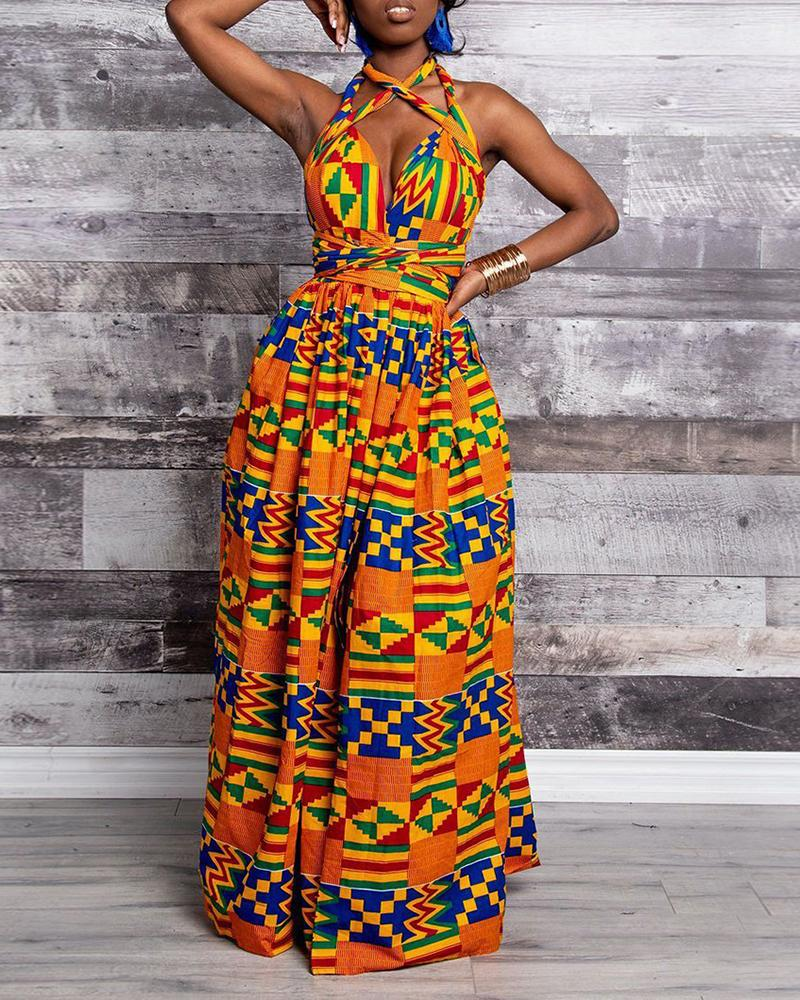 Print Crisscross Halter High Slit Maxi Dress фото