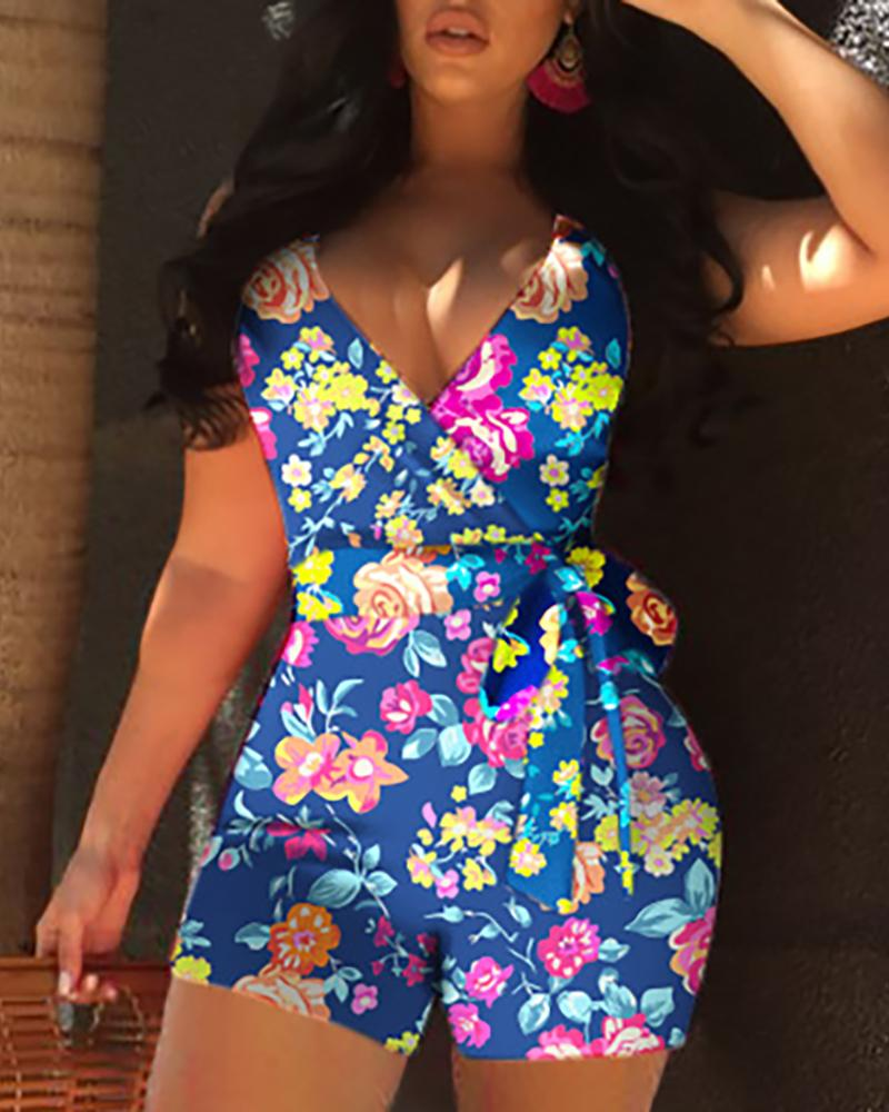 Floral Print Wrapped Belted Sleeveless Romper фото