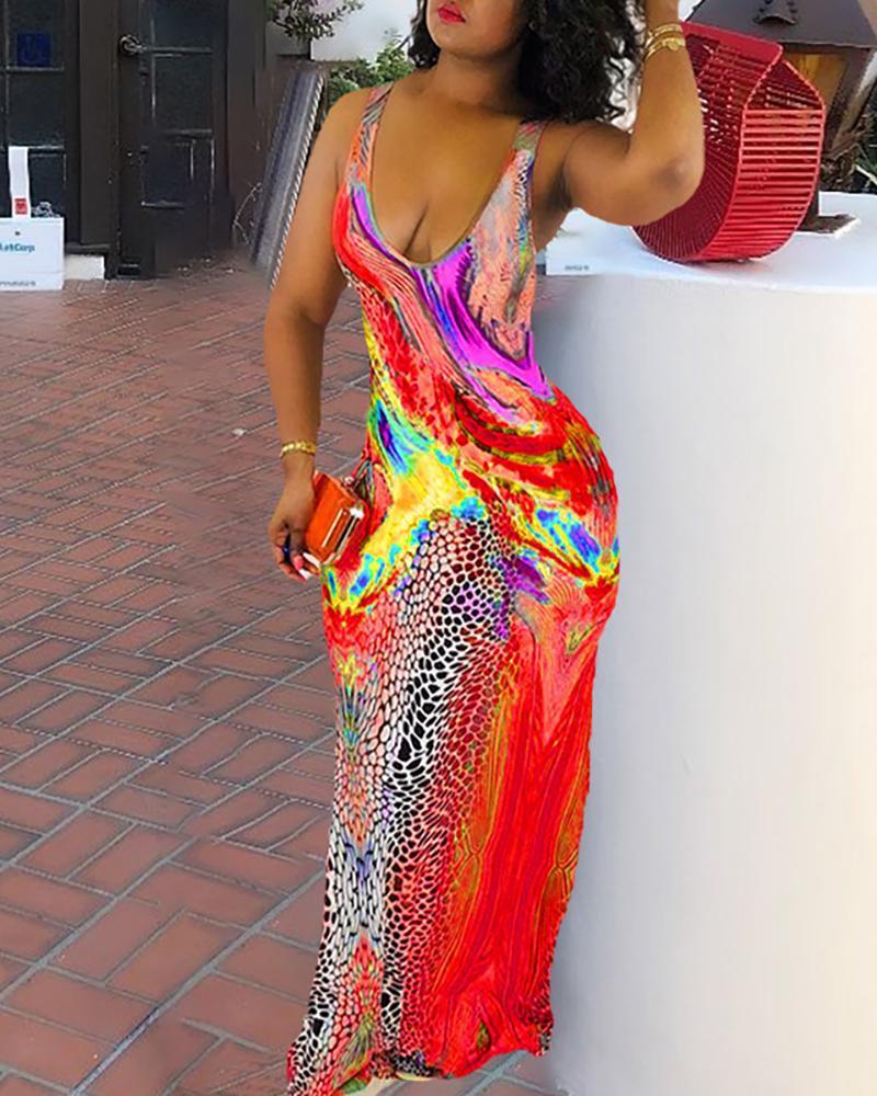 Tie Dye Cheetah Print Maxi Dress фото
