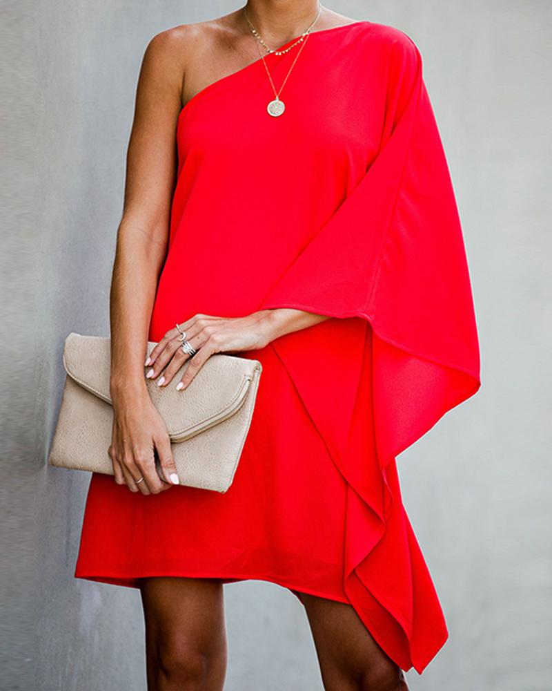 Fashion Women One Shoulder Black Mini Dress, Red