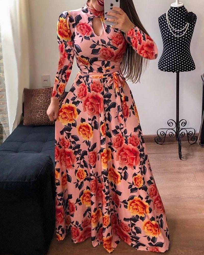 Long Sleeve Print Maxi Dress фото