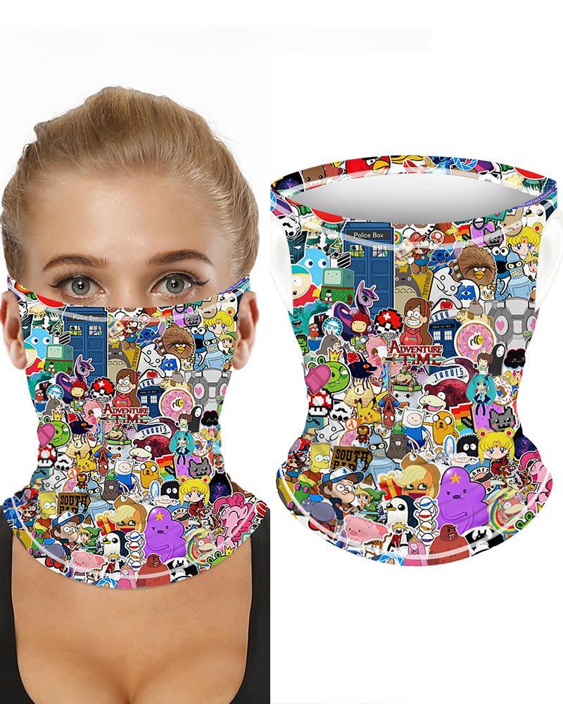 Cartoon Print Breathable Ear Loop FaceBandana Headwrap фото
