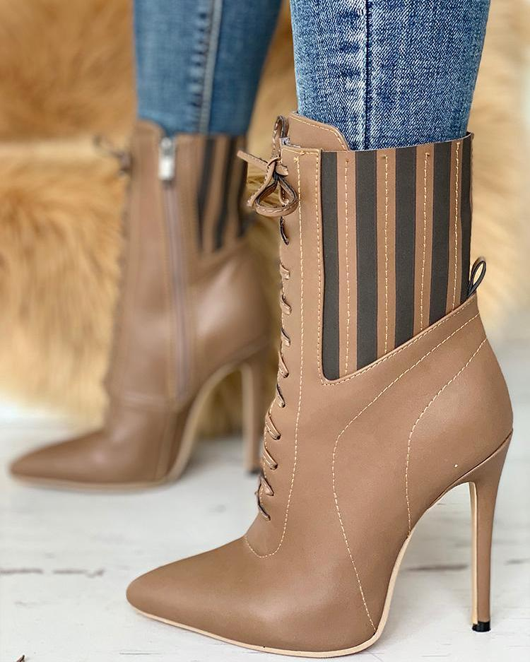 Point Toe Lace-Up Striped Boots фото