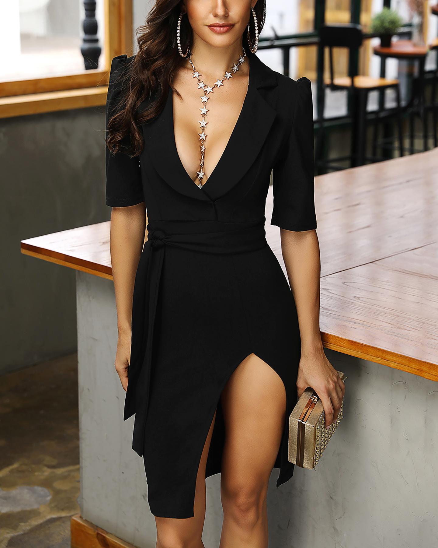 joyshoetique / Notched Neck Belted Slit Blazer Dress