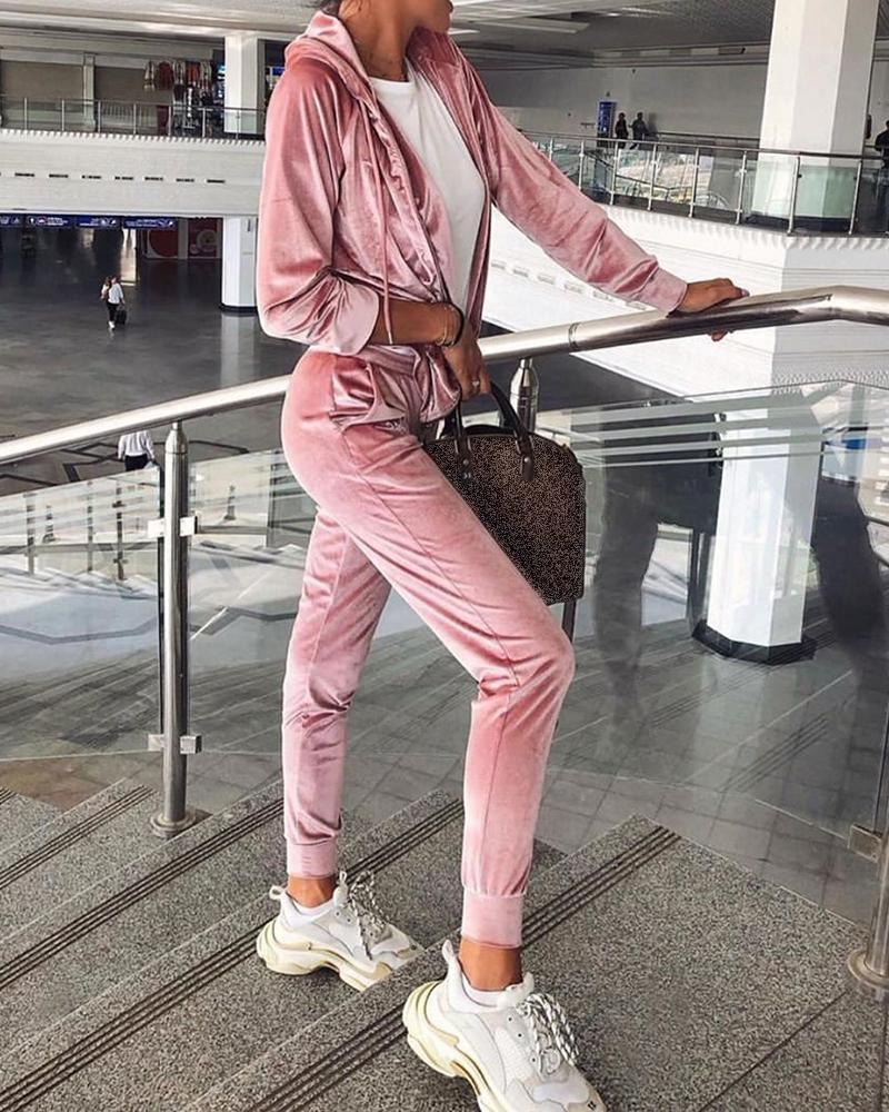 chicme / Macacão com bolsos com cordão de veludo sólido