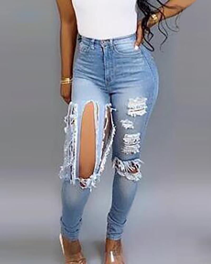 chicme / Denim Solid Jeans desgastados de cintura alta