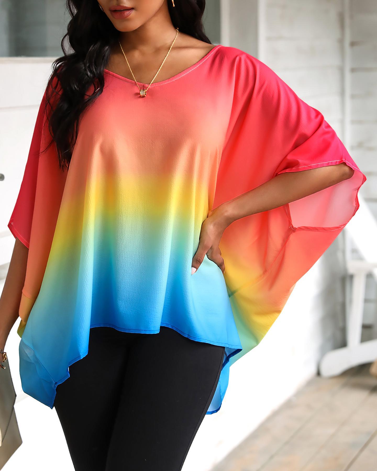 Gradient Color Tie Dye Print Batwing Sleeve Casual Top фото