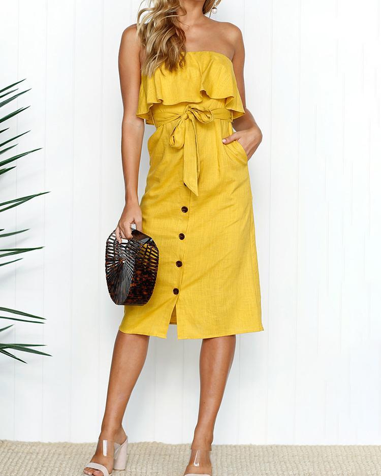 Solid Ruffle Button Tie Waist Bandeau Dress фото