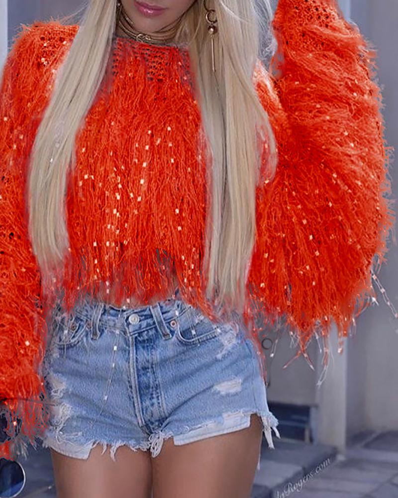 Solid Round Neck Fringed Fluffy Crop Sweater фото