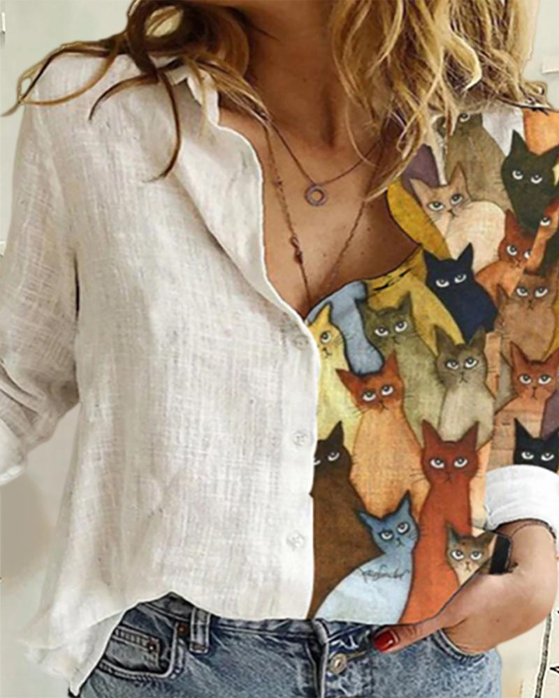 Cat Sunflower Print Button Design Shirt фото