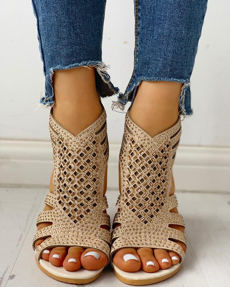 ivrose / Studded Hollow Out Flat Sandals