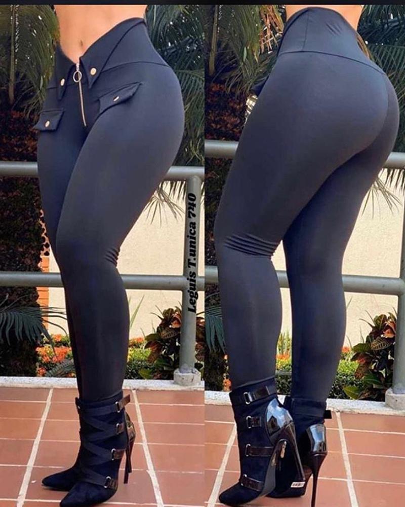 ivrose / Pantalones casuales abotonados con diseño de cremallera