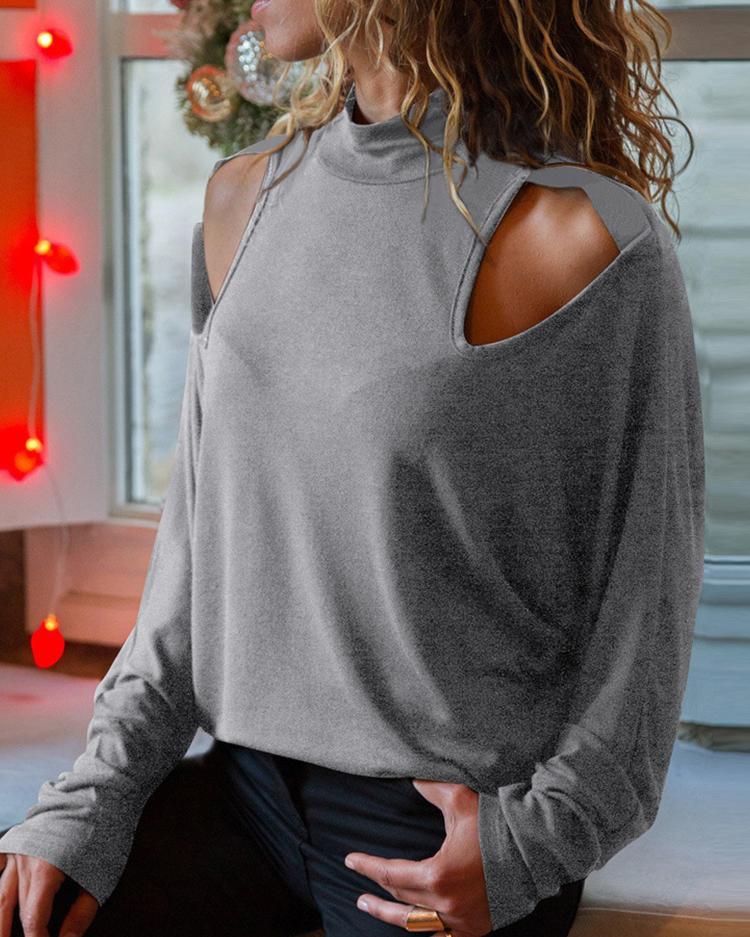 ivrose / T-shirt longo da luva do ombro cortado para fora