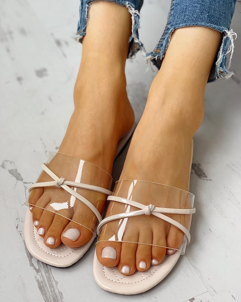 Transparent Bowknot Design Flat Sandals фото