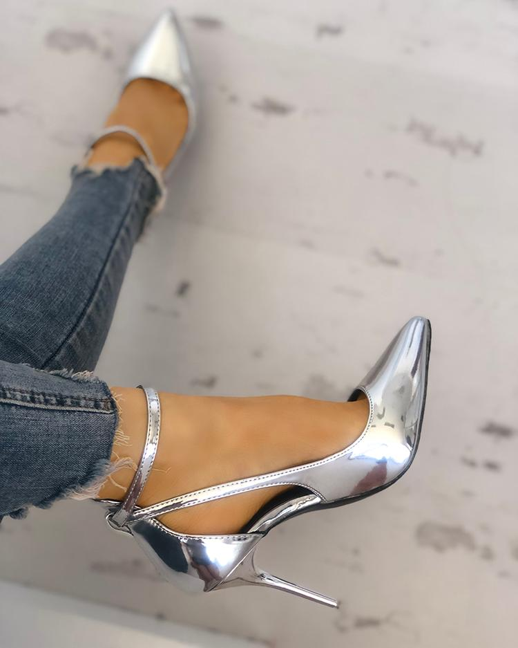 Solid Color Buckle Cutout Pointed Toe Heels