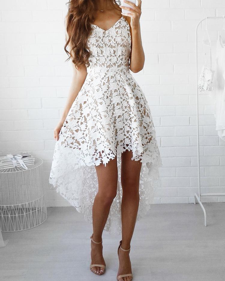 Crochet Lace Irregular Dip Hem Slip Dress фото